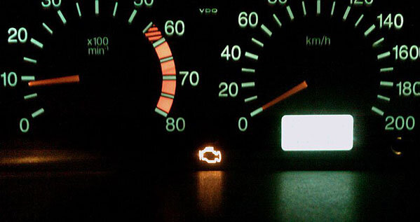 Check engine light on dash
